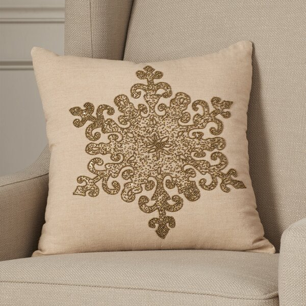 Faversham Snowflake Beaded 100% Cotton Throw Pillow by House of Hampton
